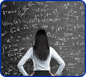 Woman Looking At Blackboard Filled With Equations